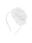 White Headband with Big Flower, Rhinestone and Pearl Center