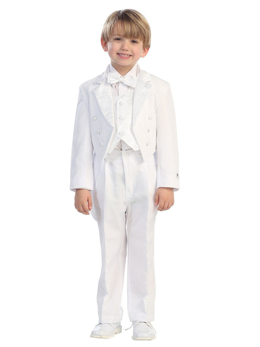 Boys Baptism 5 Piece Tuxedo Set with Angel Silver