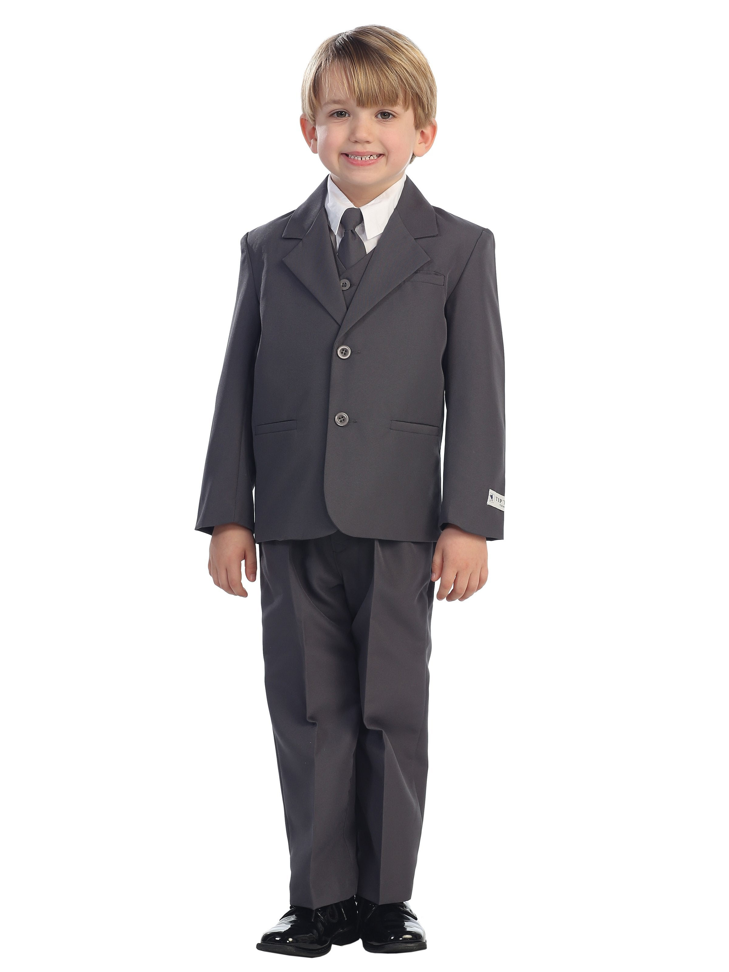 Boys 5 Piece Charcoal 2 Button Suit