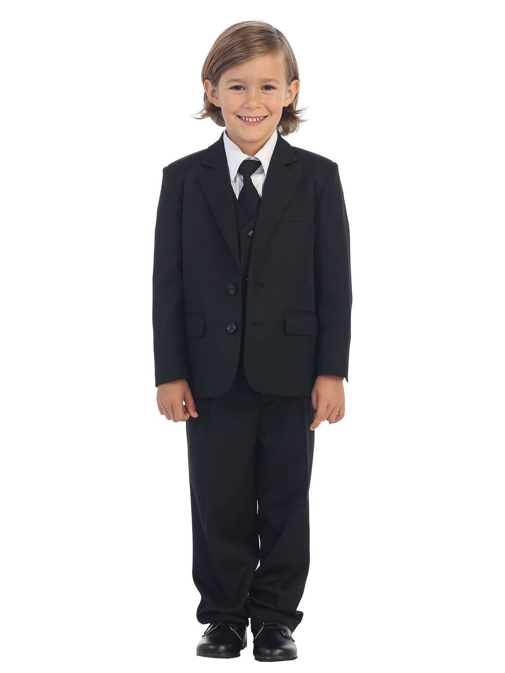 Boys 5 Piece Black 2 Button Suit