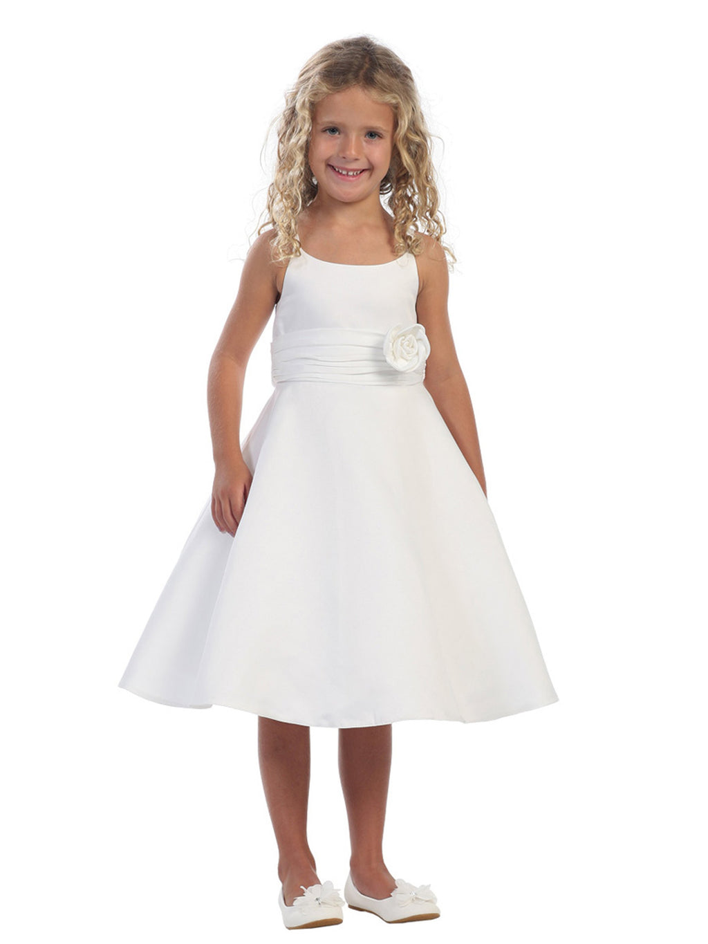 White Satin A-Line Dress with Satin Roughing Waist Accented by Satin Flower