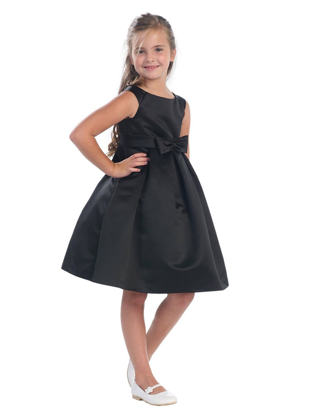Black Satin A-line Dress with Portrait Neck and Pleated Skirt
