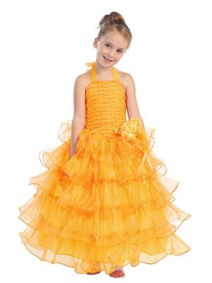 Yellow Halter Dress with Ruffle Layers