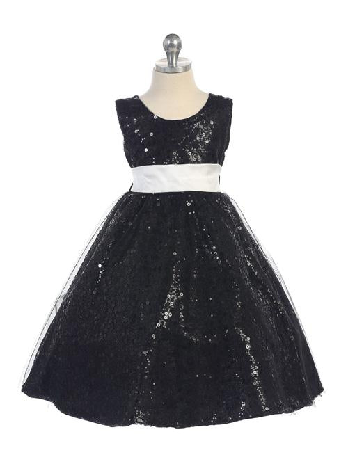Black New Sequin Dress with an Illusion Overlay