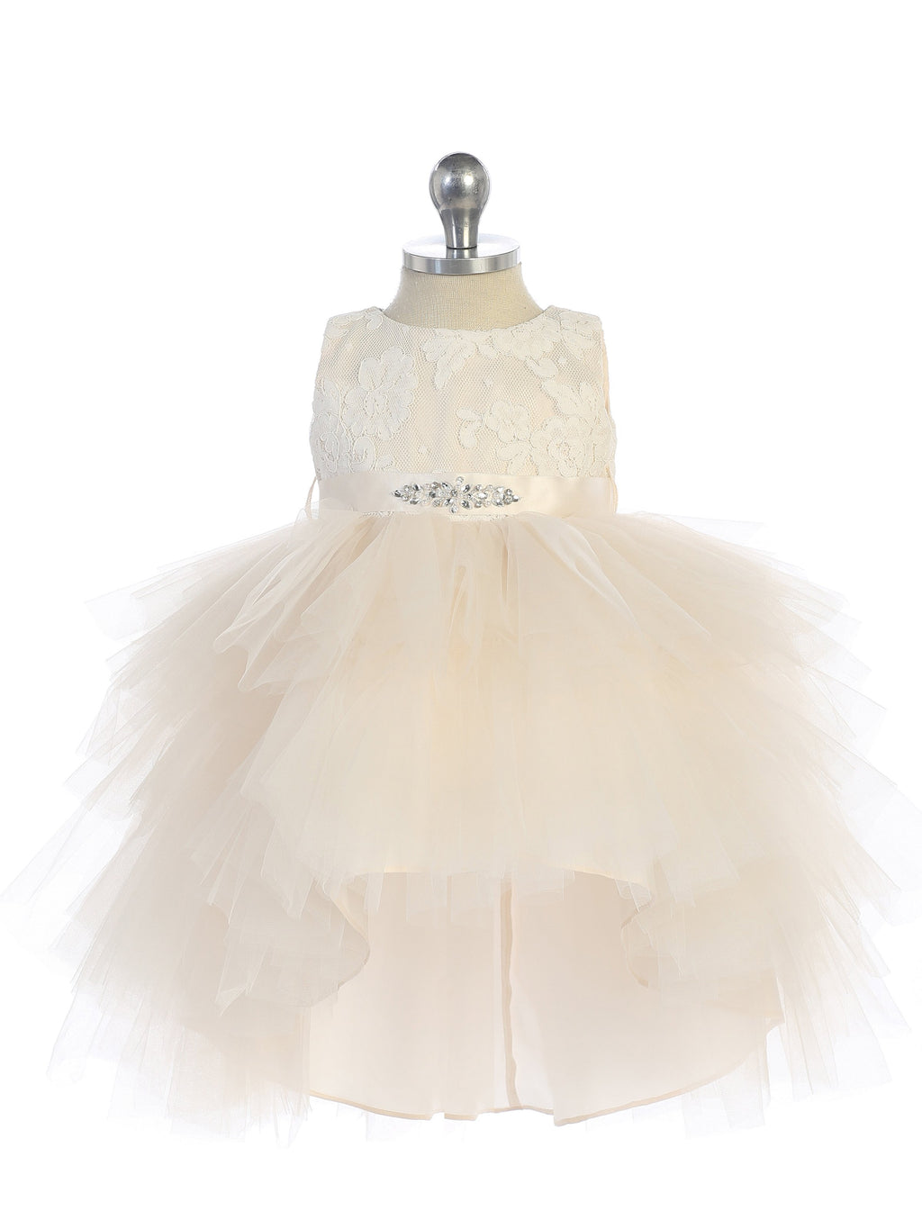 Champagne Infant Hi-Low with Lace Bodice and Beaded Sash Dress
