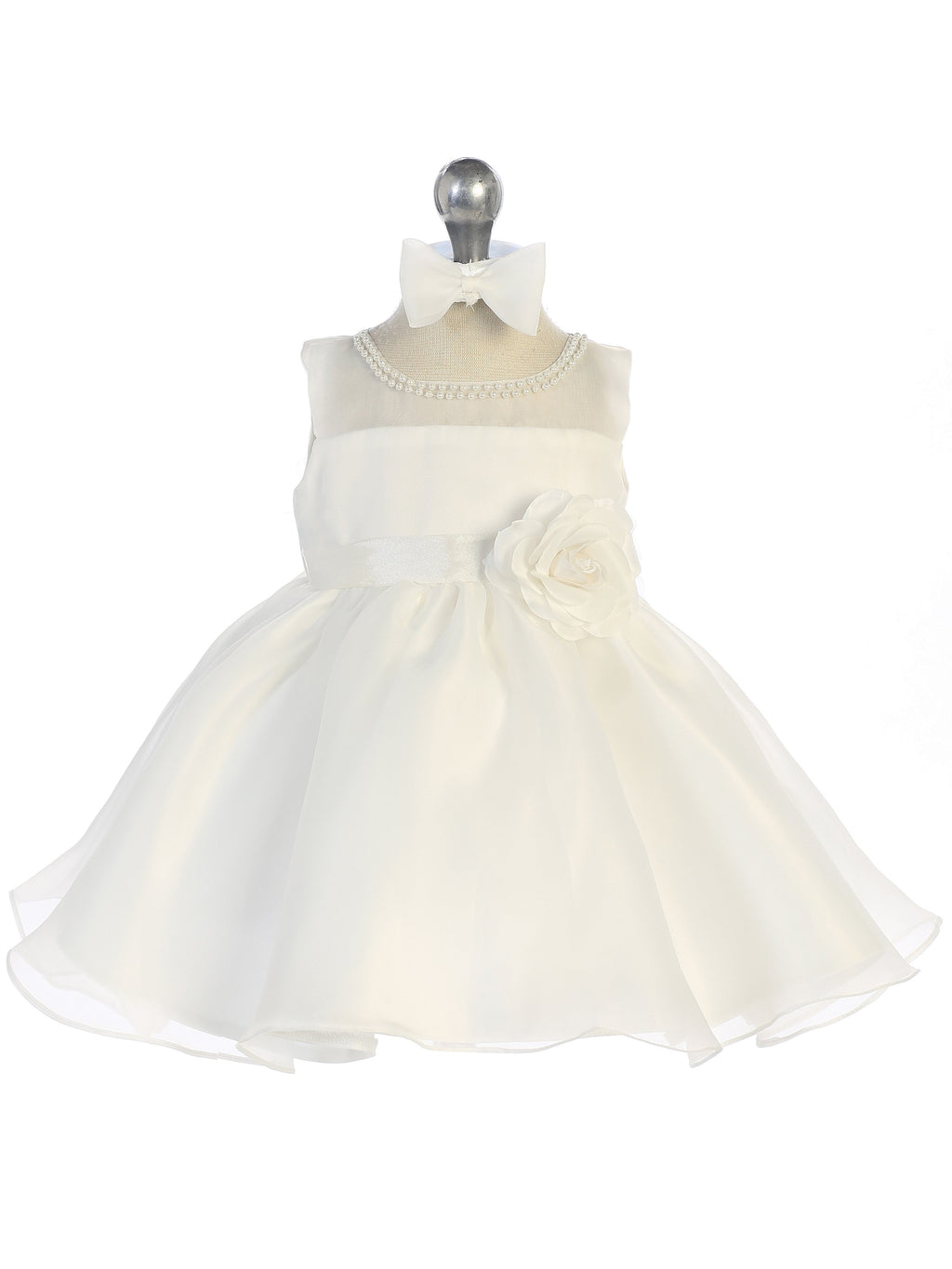 Ivory Bridal Organza Infant Dress with Illusion Neckline