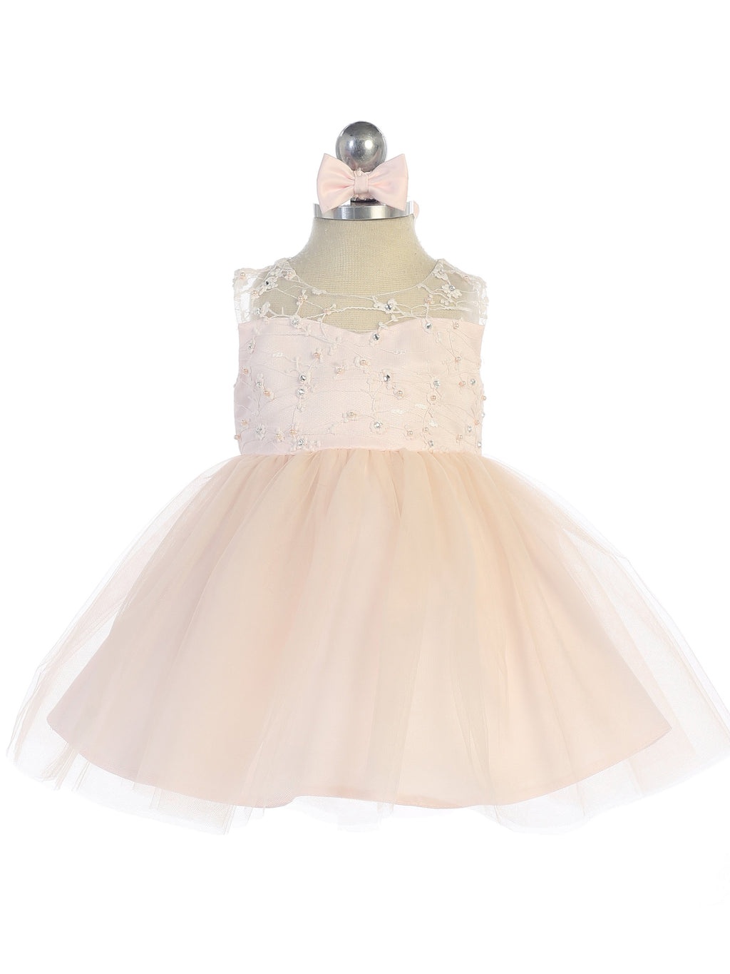 Blush Illusion Neckline Dress with Heart Keyhole Back and Tulle Skirt