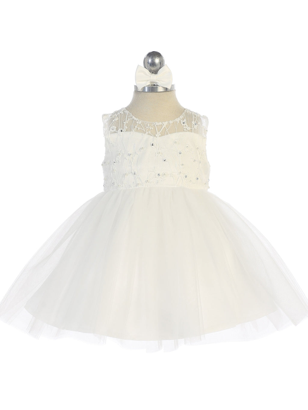 Ivory Illusion Neckline Dress with Heart Keyhole Back and Tulle Skirt