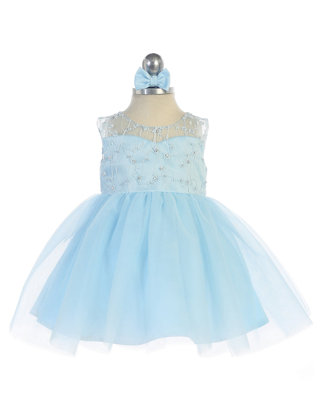Blue Illusion Neckline Dress with Heart Keyhole Back and Tulle Skirt