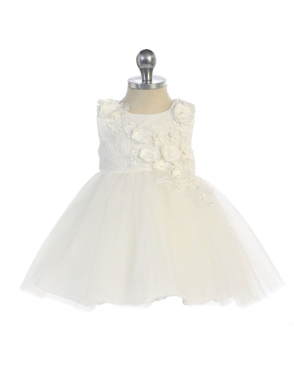Ivory Sleeveless Lace Bodice with Mesh Skirt and 3D Flowers