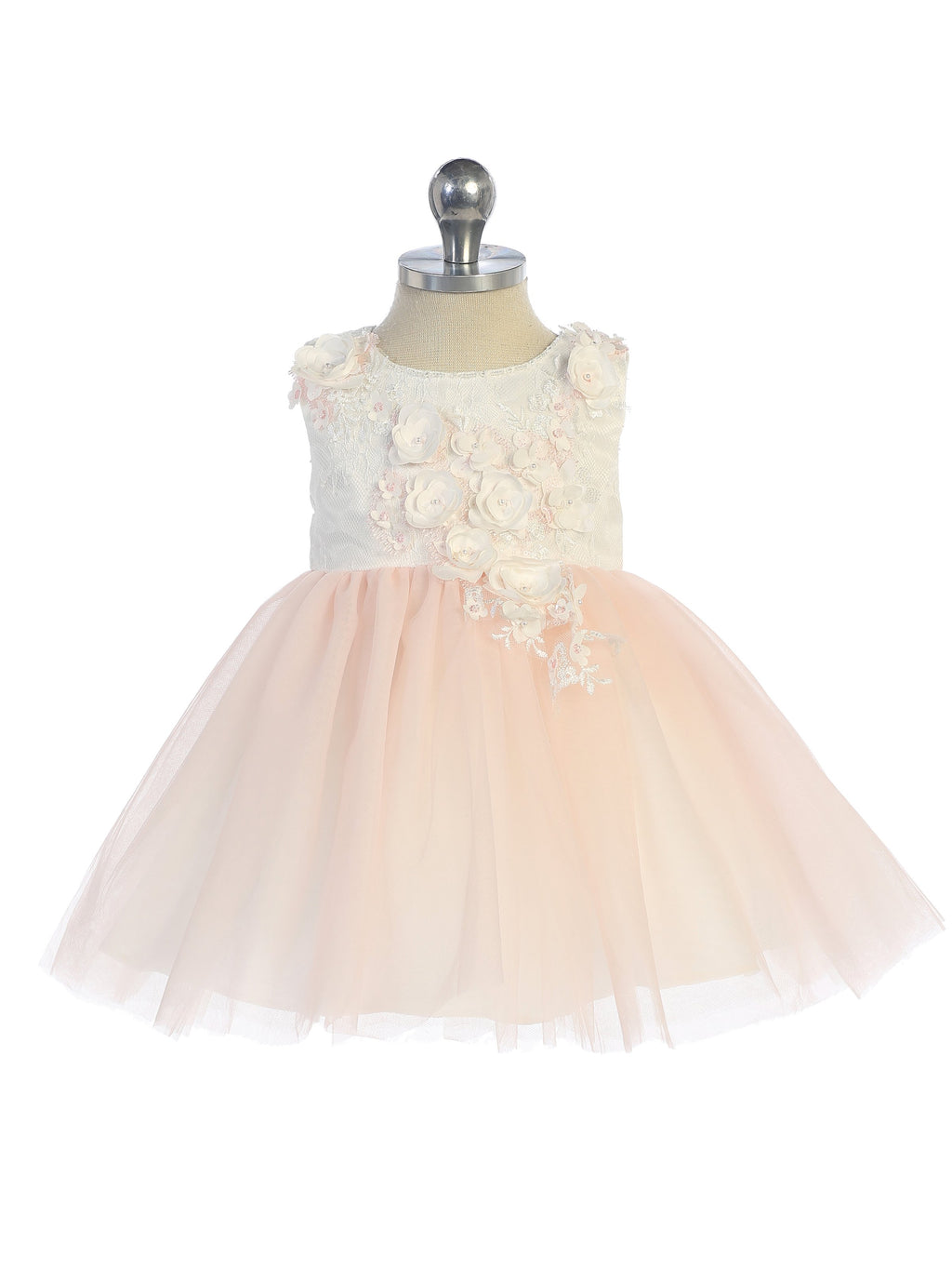 Blush Sleeveless Lace Bodice with Mesh Skirt and 3D Flowers