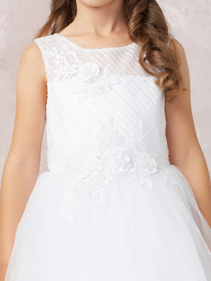 White Lovely Diagonal Embroidery with Lace Applique and a Soft Mesh Skirt