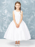 White Satin Ankle Length Dress with Lace Applique