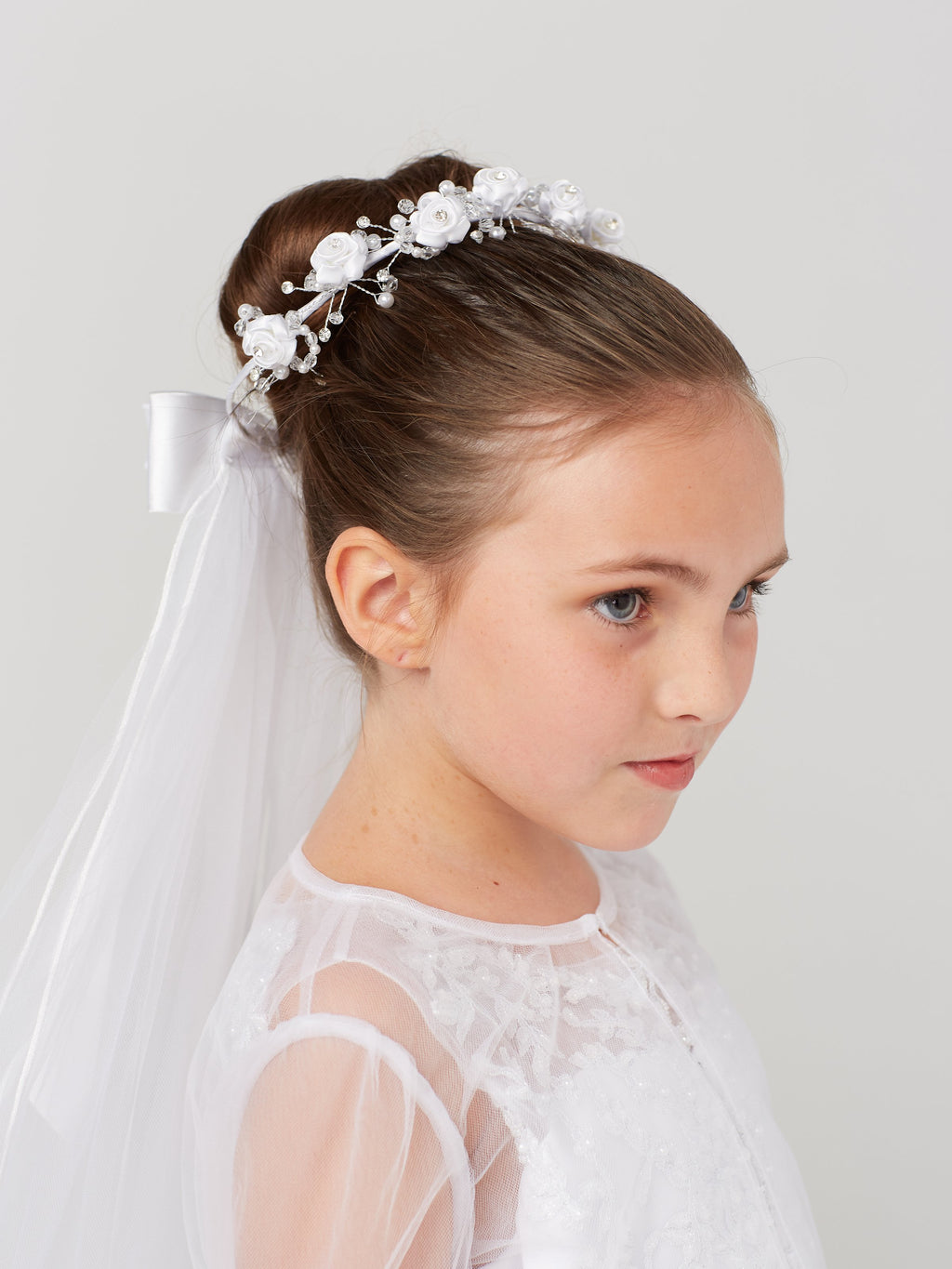 White Flower Crown with Veil