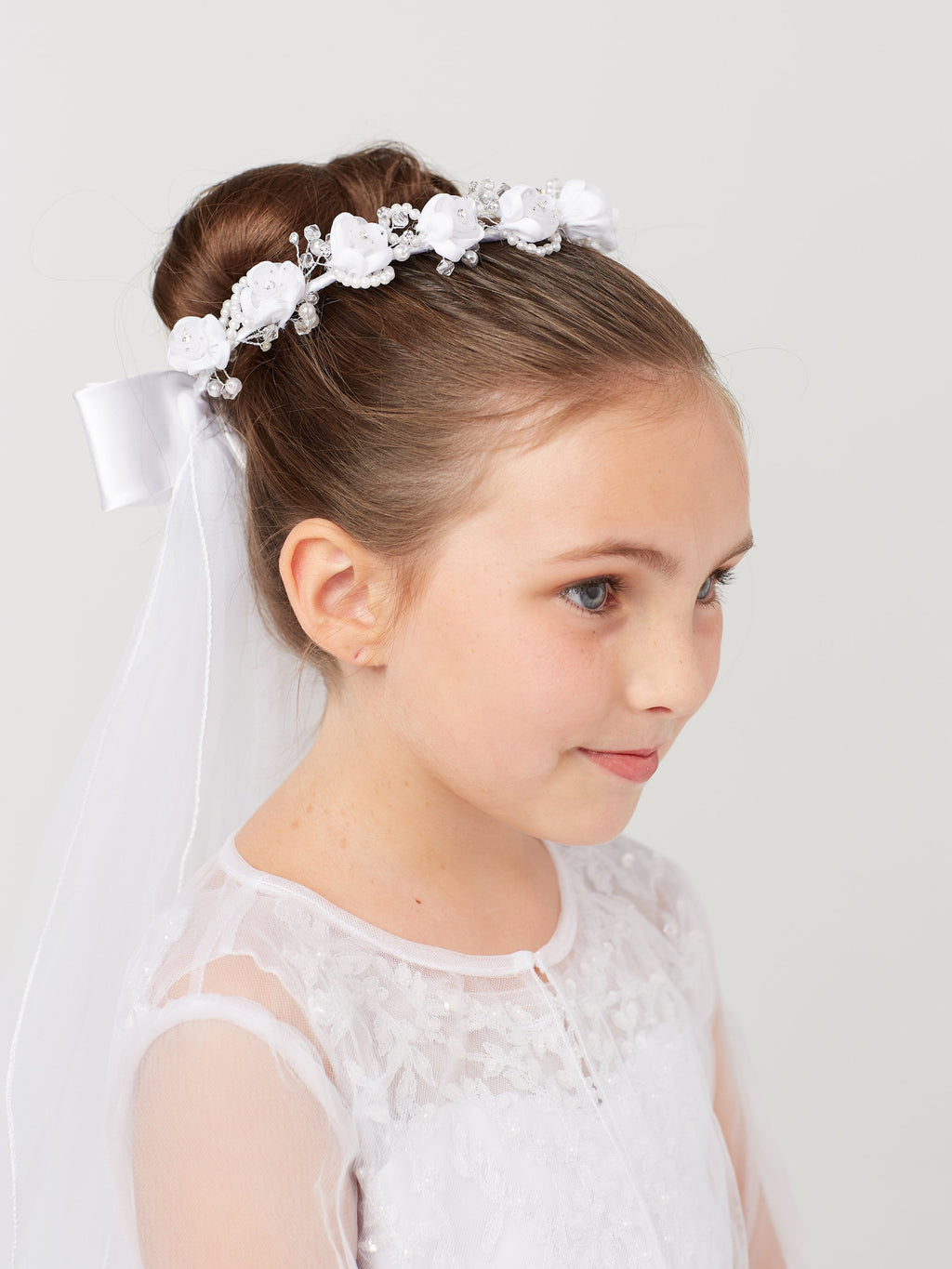 White Flower Crown with Pearls and Veil