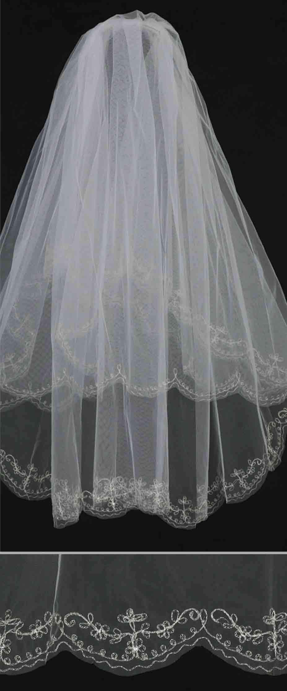 White Wedding Veil-Fancy Embroidered Edge with Rhinestone Accents