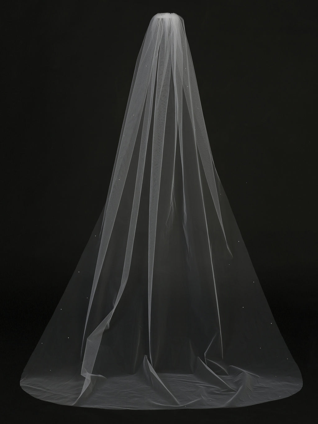 White Women's Cathedral Length Veil with Scattered Rhinestone Accents