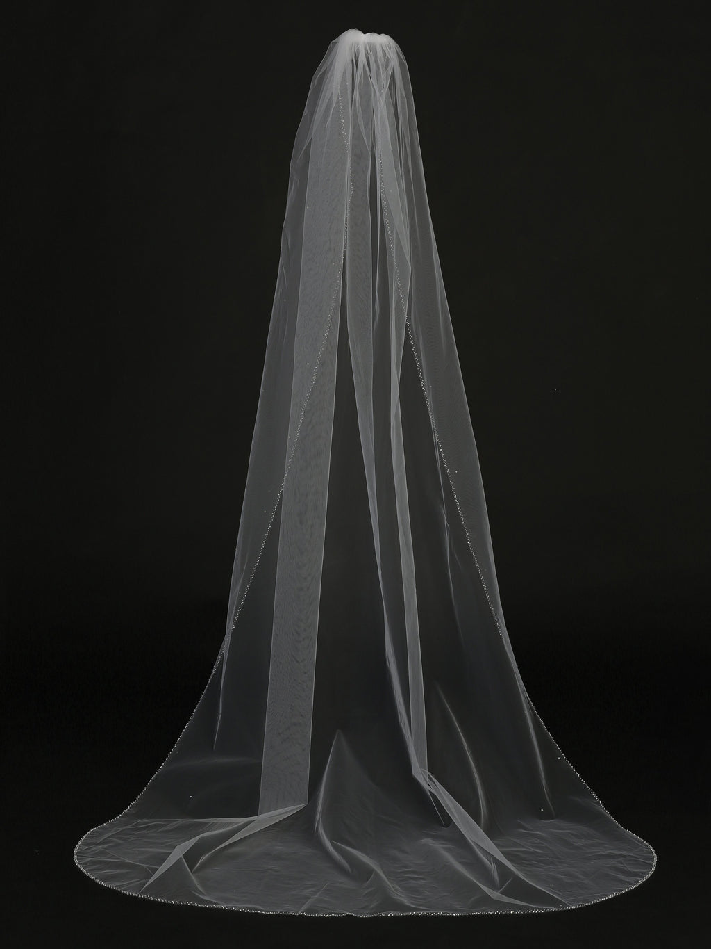 White Single Layer Cathedral Length Veil with Beaded Edge
