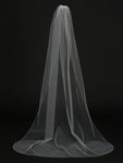 Ivory Single Layer Cathedral Length Veil with Beaded Edge