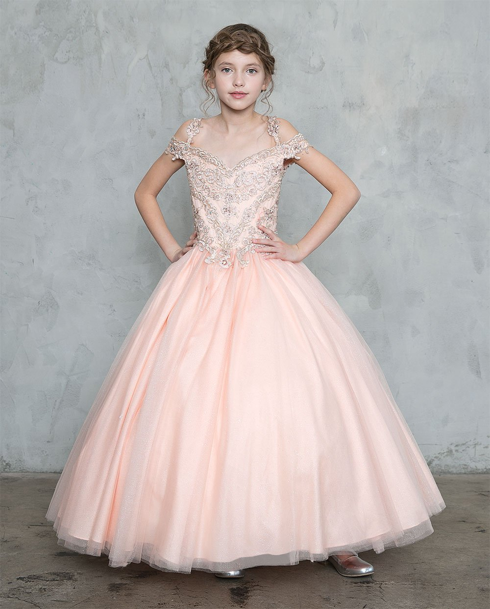 Blush Pink Girls Pageant Dress