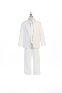 White Infant Boys 5 Piece Button Suit Set