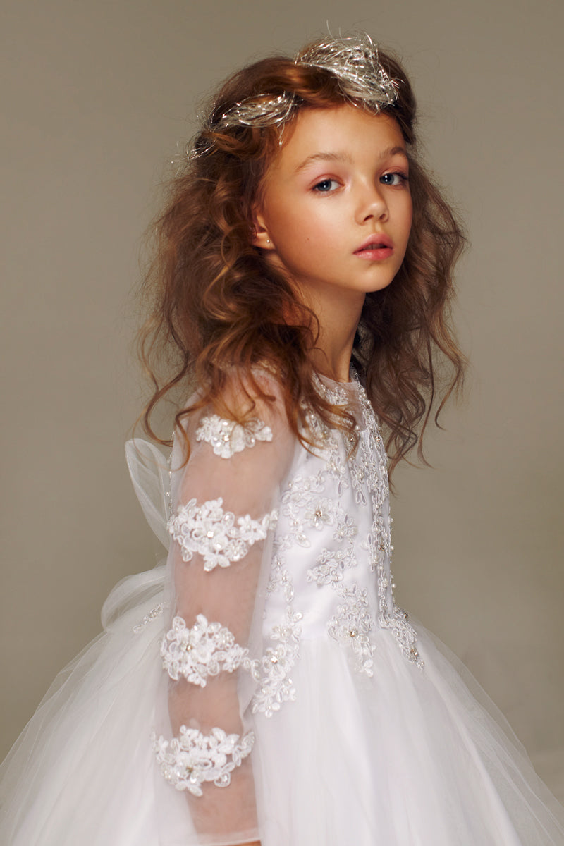 Petite Adele Little Girls White Embroidered Hi-Low Mayra Flower Girl Dress