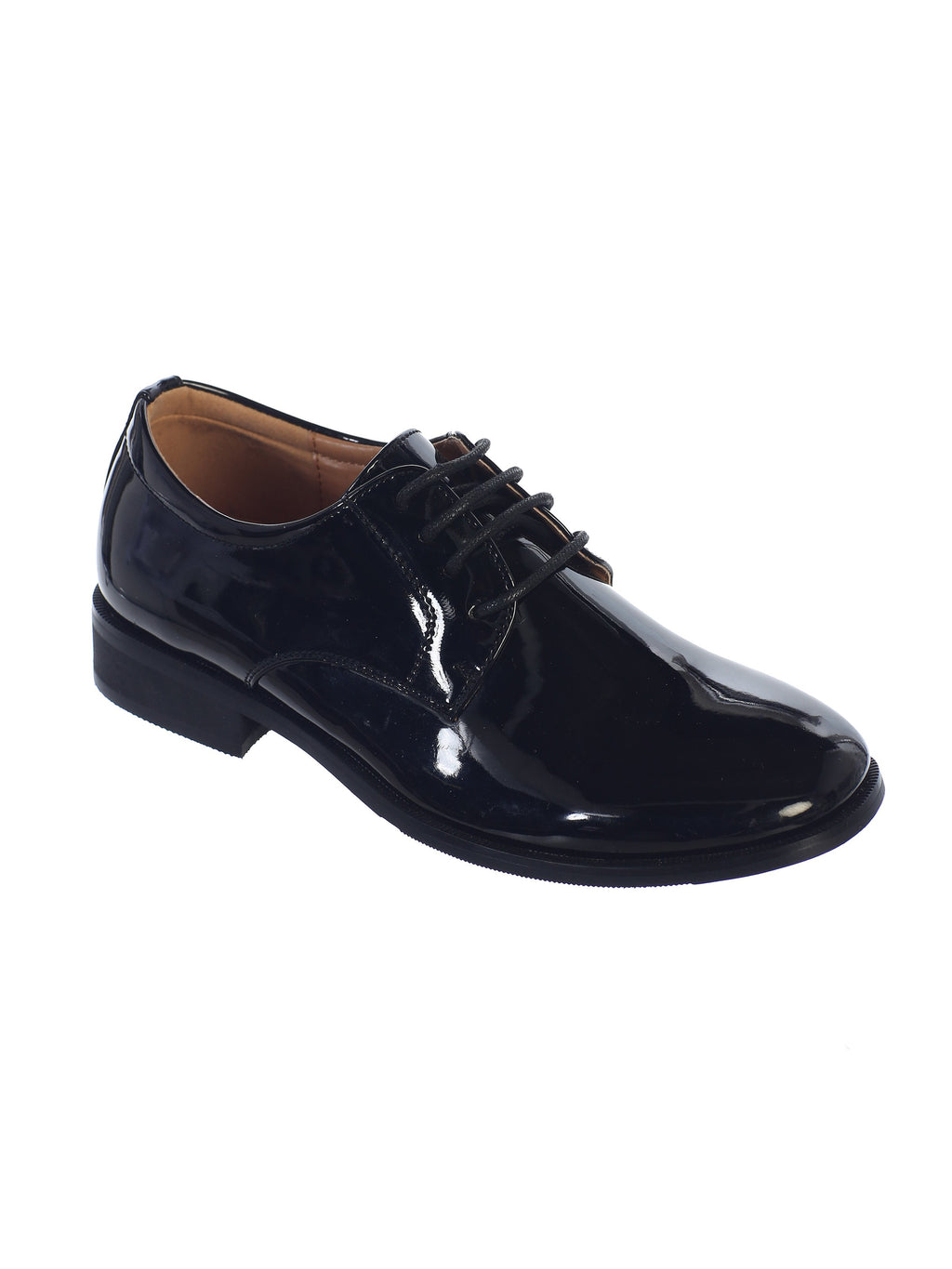 Little Boys Shiny Black Tuxedo Shoes, Round Toe Style in Infant to Boys Sizes