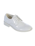 Little Boys Shiny White Tuxedo Shoes, Round Toe Style in Infant to Boys Sizes