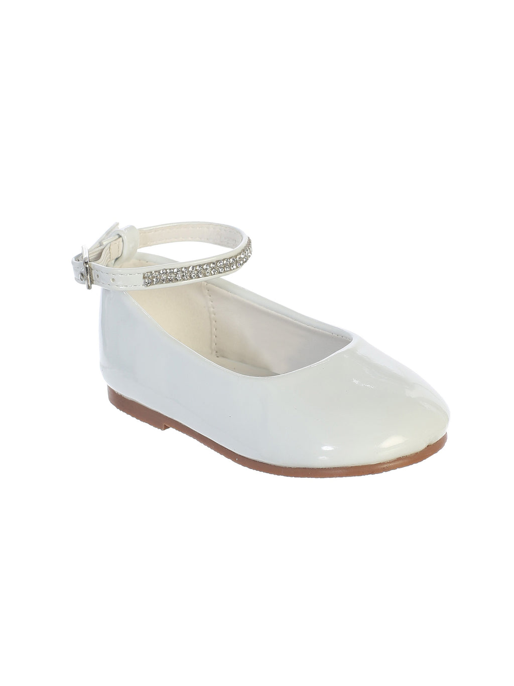 White Flats with Rhinestone Strap