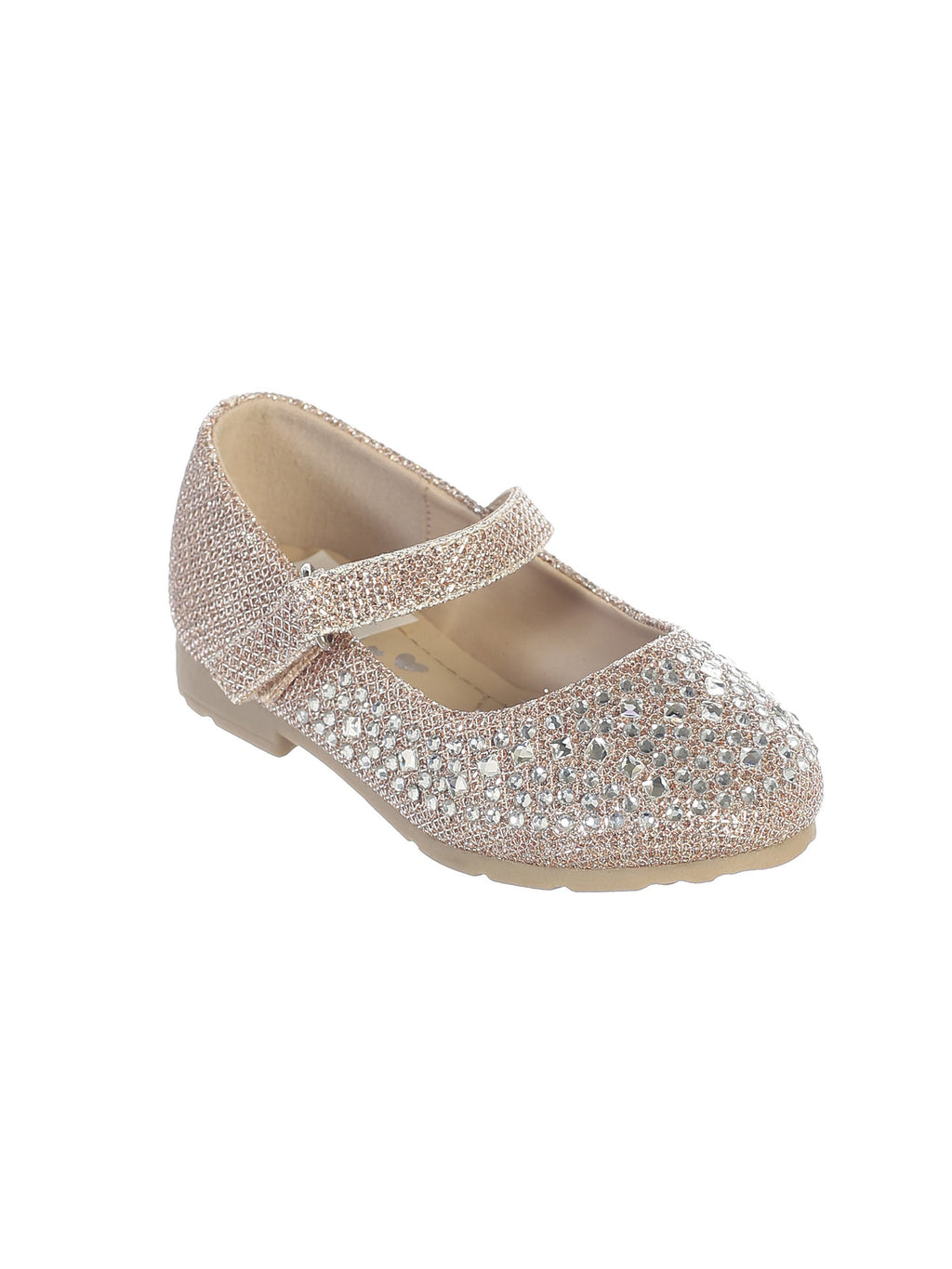 Rose Gold Metallic Shoes with Sparkling Rhinestones