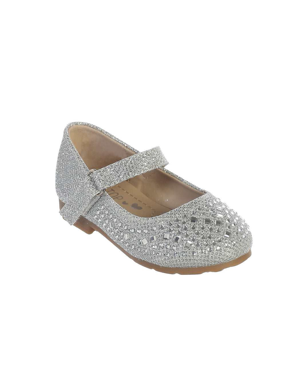 Silver Metallic Shoes with Sparkling Rhinestones