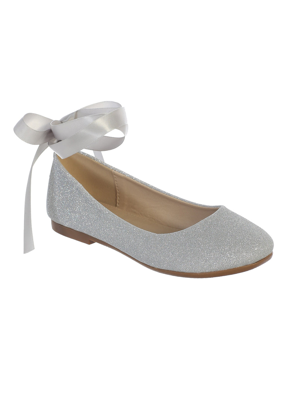 Silver Glitter Ballerina Shoes with a Satin Ribbon Ankle Ties