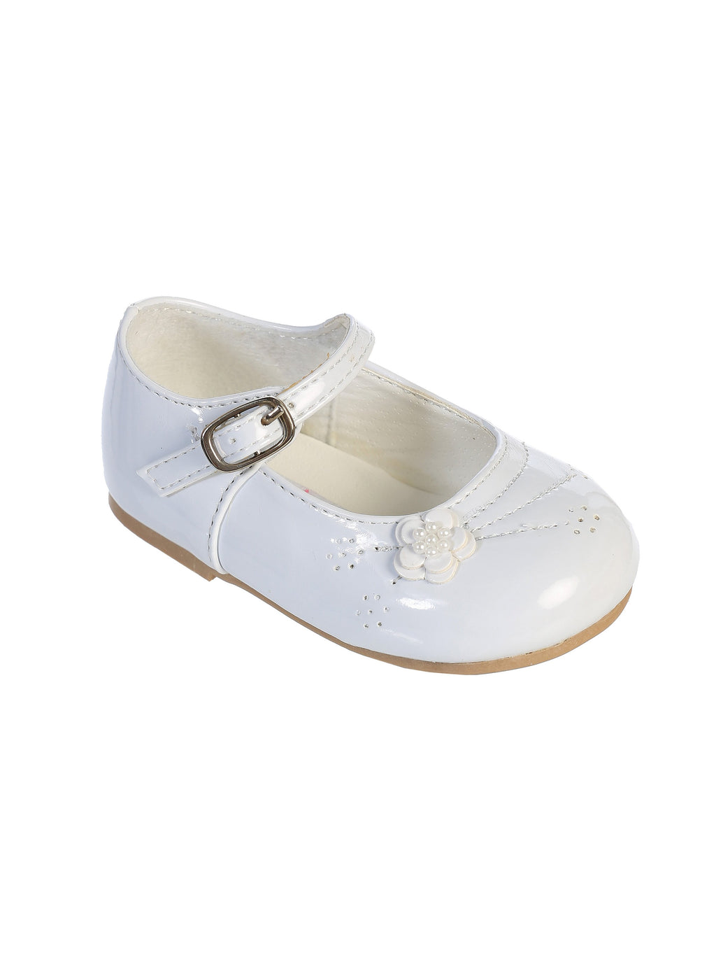 Ivory Little Girl's Mary Jane with Embellished Front & Flower Accent on the Side