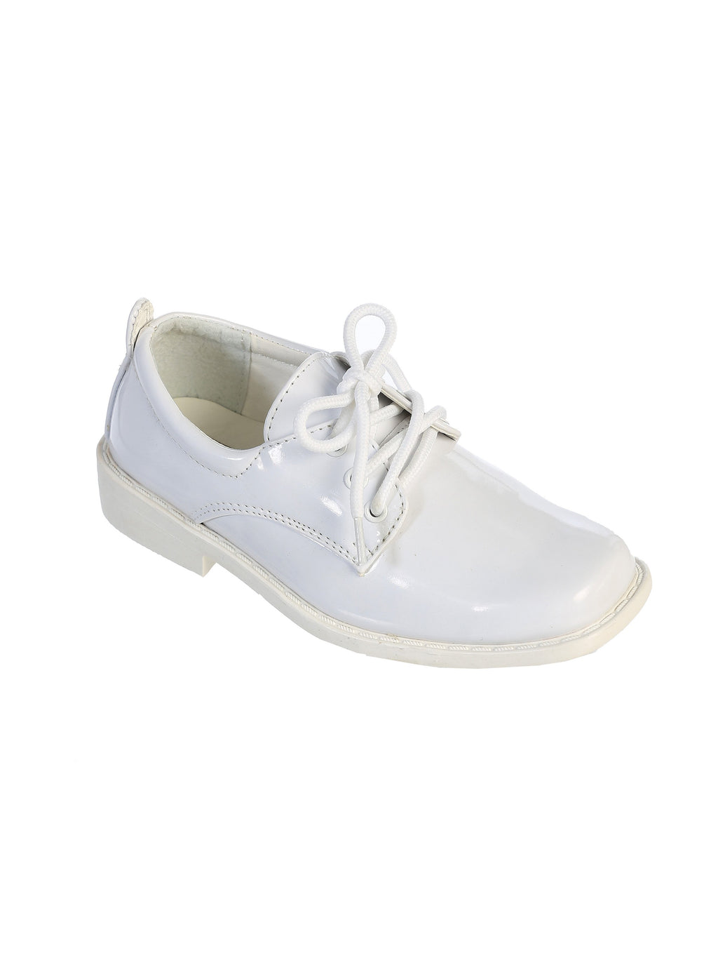 TipTop Patent Shiny White Boys Dress Oxford Shoes