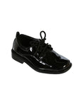 Boys Black Glossy Square Toe Lace up Shoes