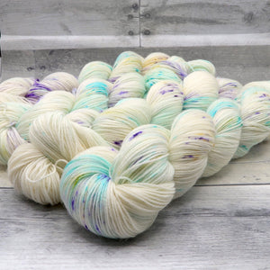 Occamy - (Everyday Sock - variegated, speckled) - cool aqua, purple and delicate yellow speckles
