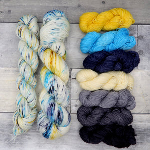 I am Smart (Everyday Sock) - speckled yellow, icy blue and deep blue