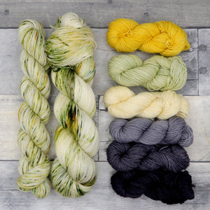 I am Beautiful (Everyday Sock) - speckled yellow, light green and moss green
