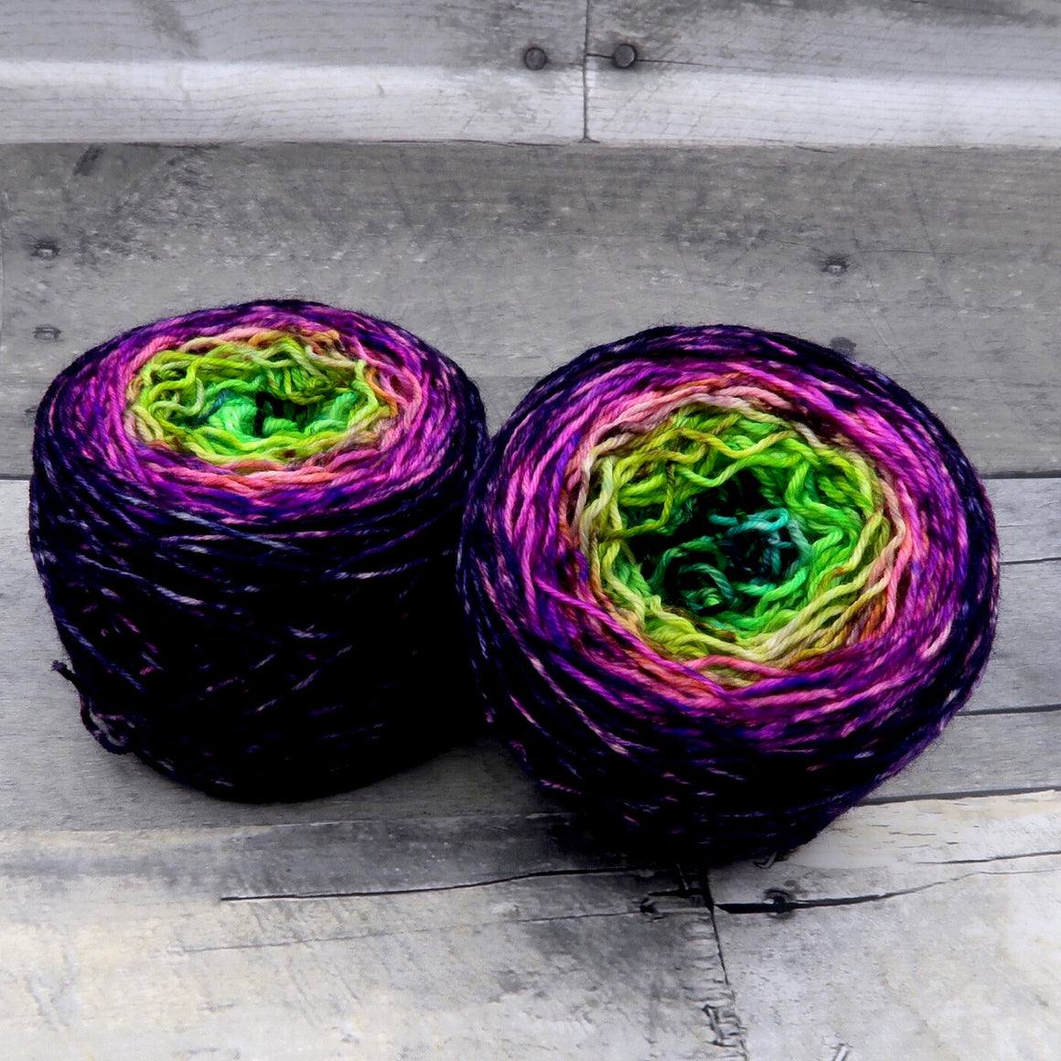 Funky Fresh - (speckle gradient pair) - Fluorescent green, yellow, orange, pink speckled with black