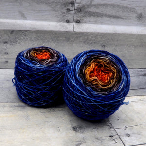 Dragon's Flames - (speckle gradient pair) - Fluorescent orange fading to burnt brown to bold blue