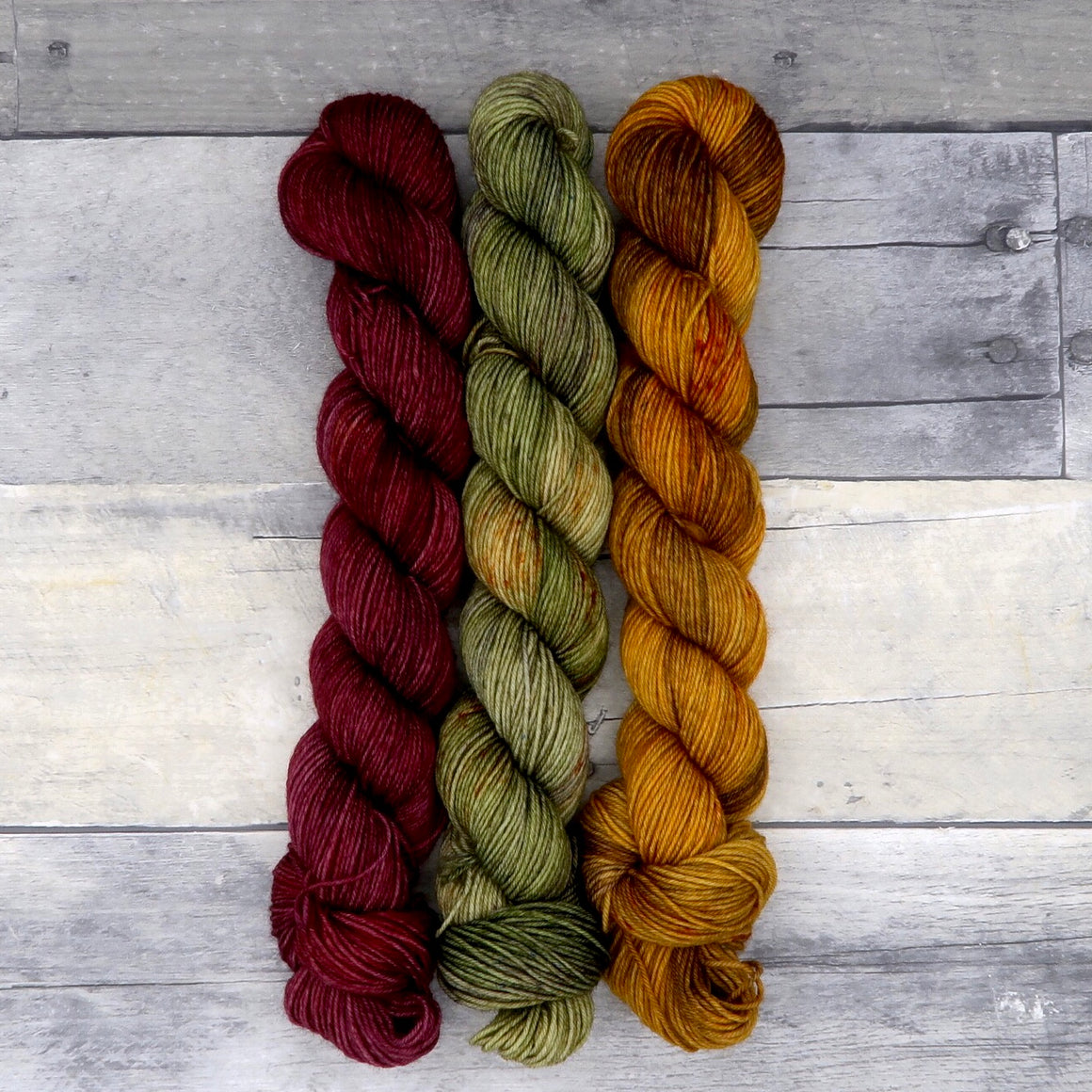 Falling Leaves Trio (Everyday Sock, tonal/variegated) - 150g total