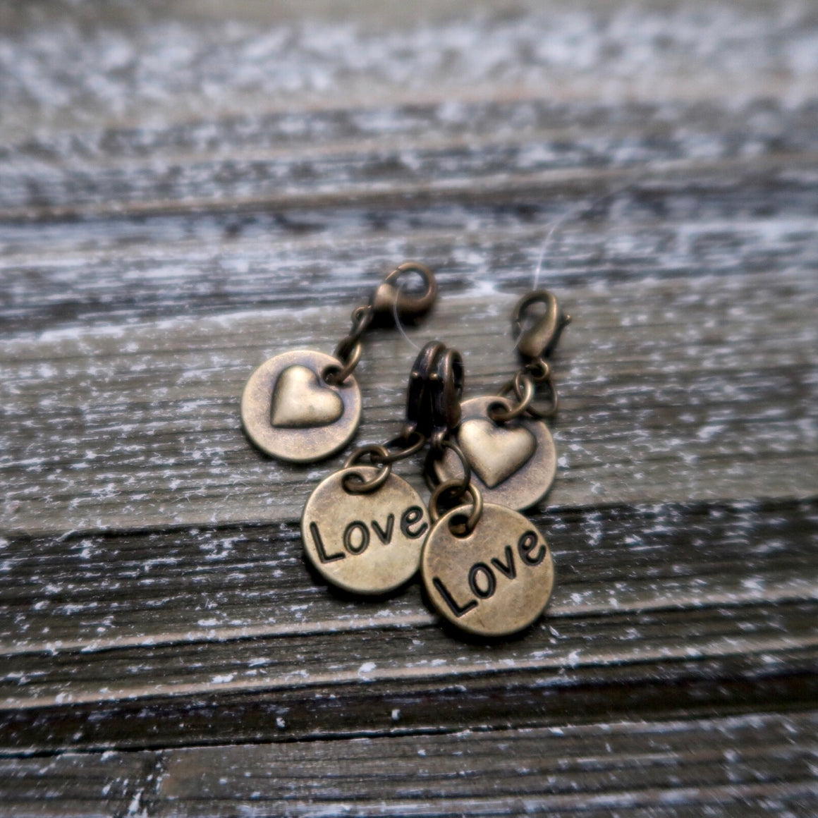 Set of 4 Love Stitch Markers / Progress Keepers