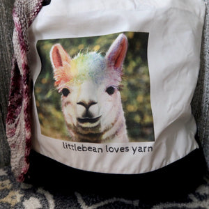 Rainbow Alpaca Tote Bag - 100% canvas cotton, black and white bag
