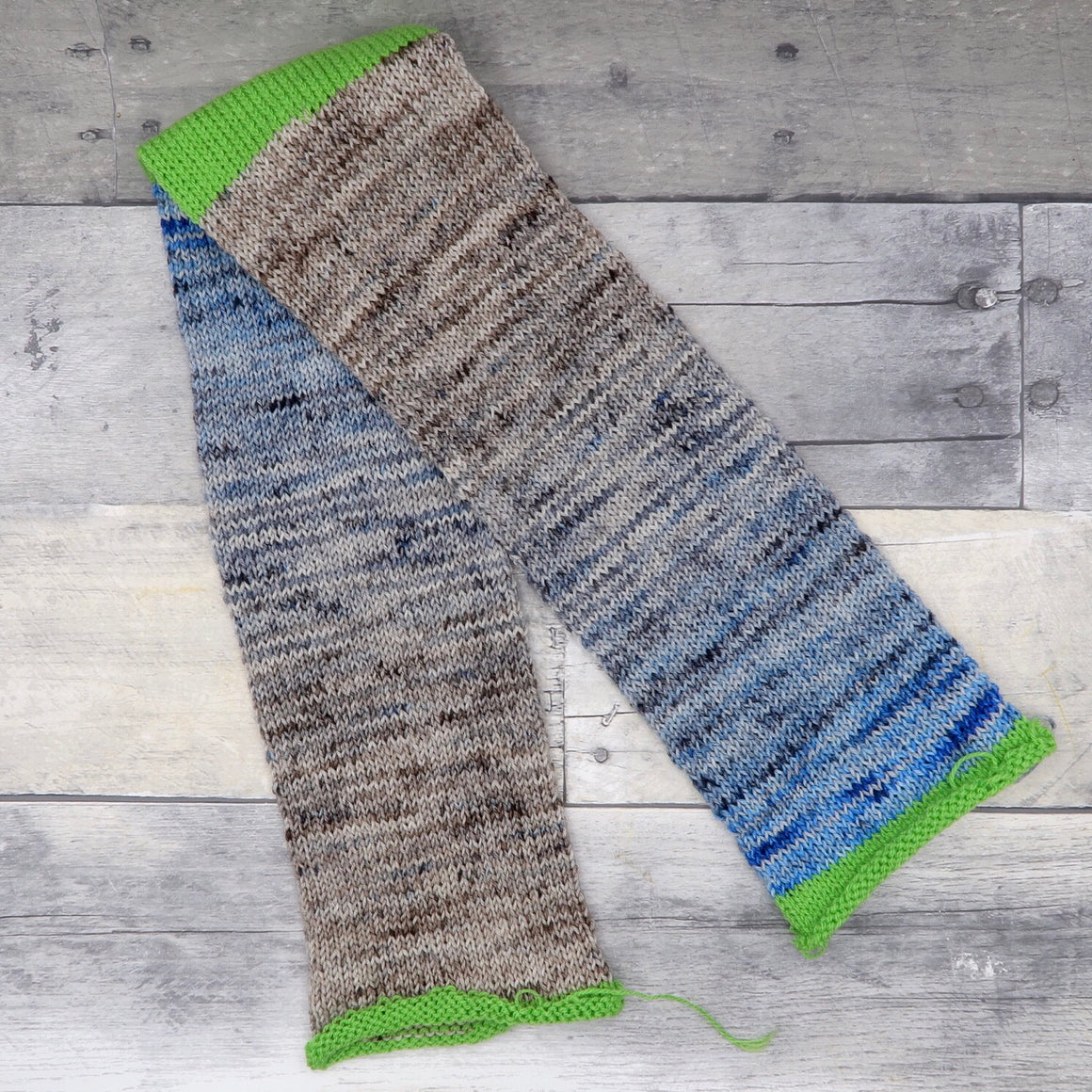 Sock Tube (gradient, ocean blue through grey and sand) -  60 sts, 8 sts/in, 10 rows/in