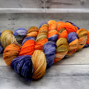 Happy Accident 2/25/19 - (Everyday Sock, speckled pooling) -  bold orange, blue, purple and yellow
