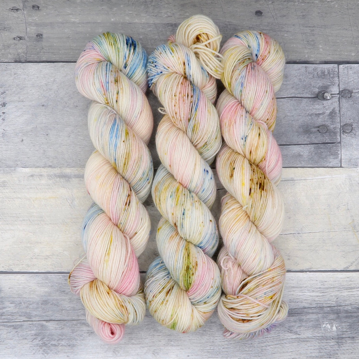 Happy Accident 3/2/19 - (Everyday Sock, speckled) - light speckled blue and yellow with pale pink