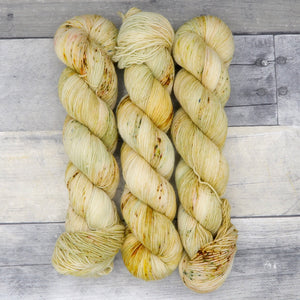 Happy Accident 1/30/19 - (Everyday Sock, speckled) - earthy yellows, and pale green washes