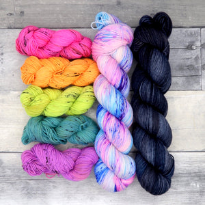 Rock Candy - (Everyday Sock, variegated/speckled) - vibrant and fluorescent pink-blue