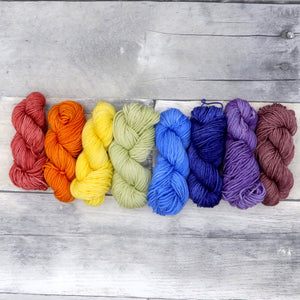 Rainbow Miniskein Set - 10g each (80g total)- Tonal Yarn (Everyday Sock)