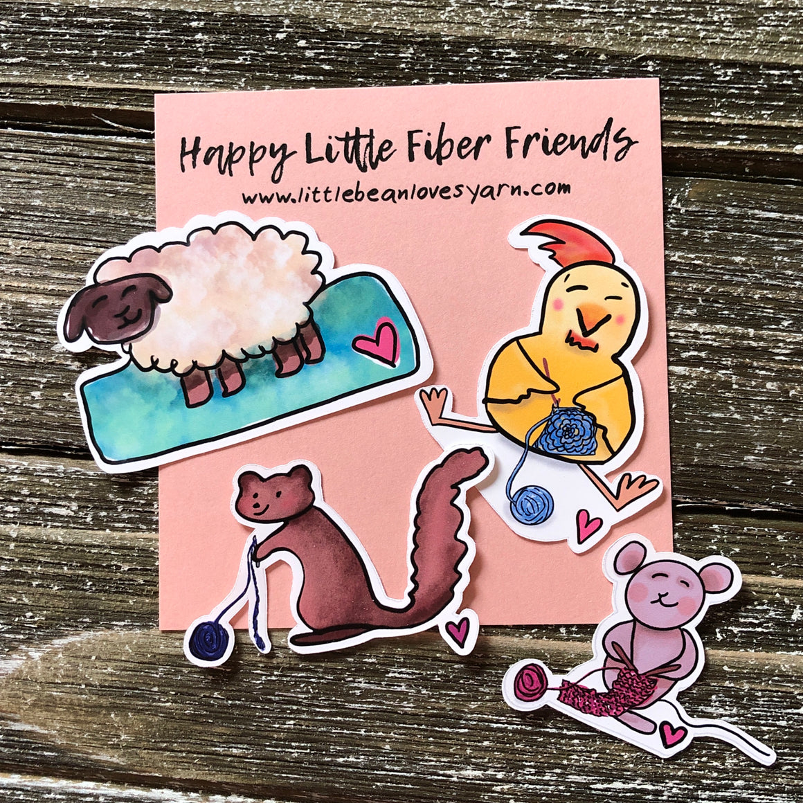 Happy Little Fiber Friends Stickers